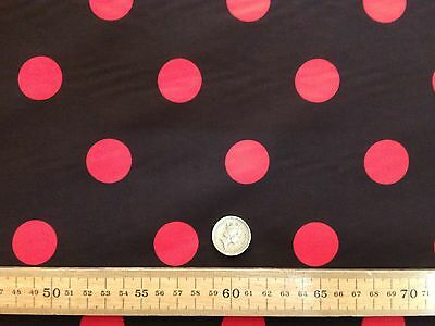 PolyCotton fabric * SPOTTED POLKA DOT * BLACK with RED SPOTS * 25 MM SPOTS