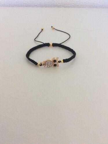 Owl crystal connector//black cord adjustable slider bracelet