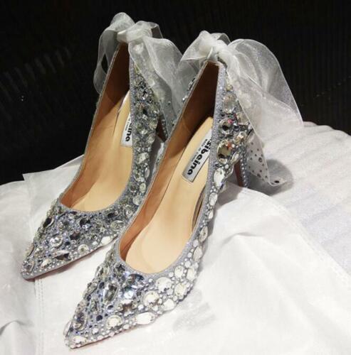 in argento con alto sposa Scarpe tacco da cristallo 06nHzH