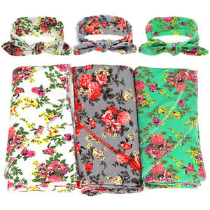 Bohemia Newborn Infant Baby Floral Swaddle Knit Blanket & Headband Headwrap Sets