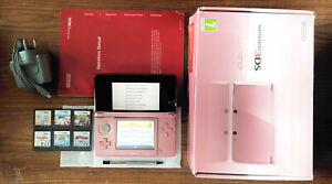 Nintendo 3DS Pink Handheld System Console Bundle +6 Games & Charger