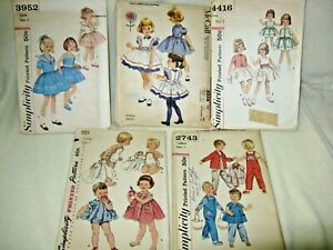 5 vintage Size 1 & 2, Little Girl and Boy Clothing, Clothes Patterns, Simplicity