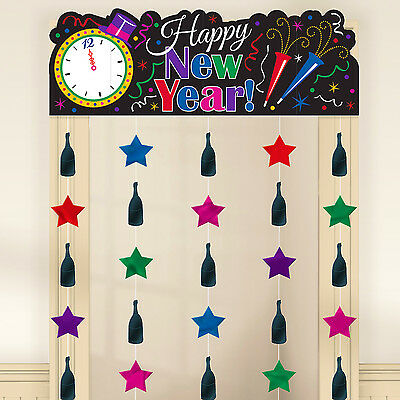 Happy New Year Banner Door Sign + Hanging Foil Stars ...