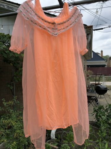Peignoir Chiffon Nylon Nightgown & Robe Set Orange
