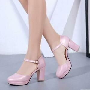 4d7b44d970 Womens Ankle Straps Round Toe Chunky Heels Hollow Sandals Summer ...