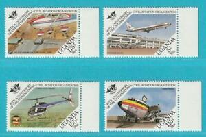 L'ouganda De 1984 ** Cachet Minr. 402-405 Avions Hélicoptère-afficher Le Titre D'origine