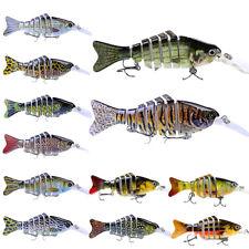 10 PCS 7 Segment Fishing Lures Crankbait Tackle Minnow Bait Crank with 6 Hook UK