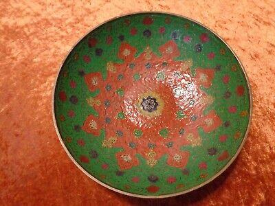 Gutherzig Messing Schale - Vintage - Innen Farbig Gefasst - Durchmesser Ca. 19 Cm