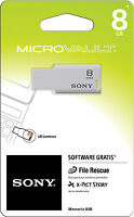 Sony 8gb Microvault Usb 2.0 Flash Memory Pen Drive Thumb Stick Usm8gm1/w