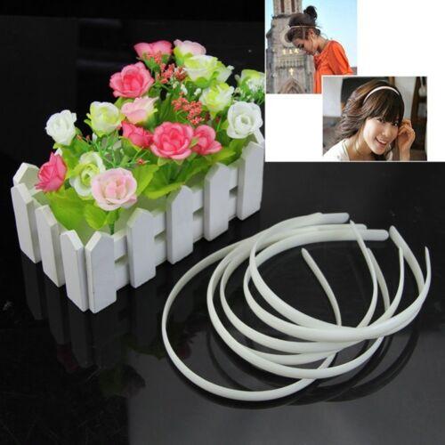 10Pcs Fashion White Plastic Plain Hair Bands Headbands No Teeth Accessories