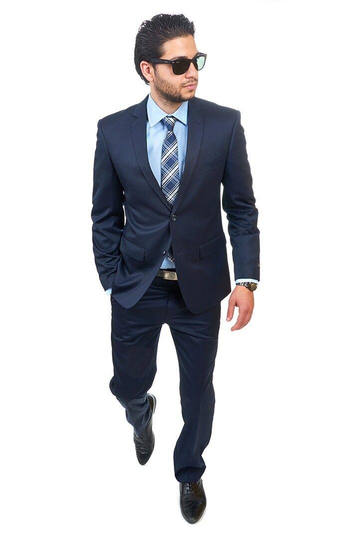 Slim Fit Suit 2 Button Solid Navy Blau Notch Lapel Flat Front Pants By AZAR MAN