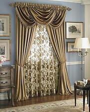 Luxury Hyatt WINDOW TREATMENT, Royal Velvet,set of 2 Panel &3 valance-GOLD ant