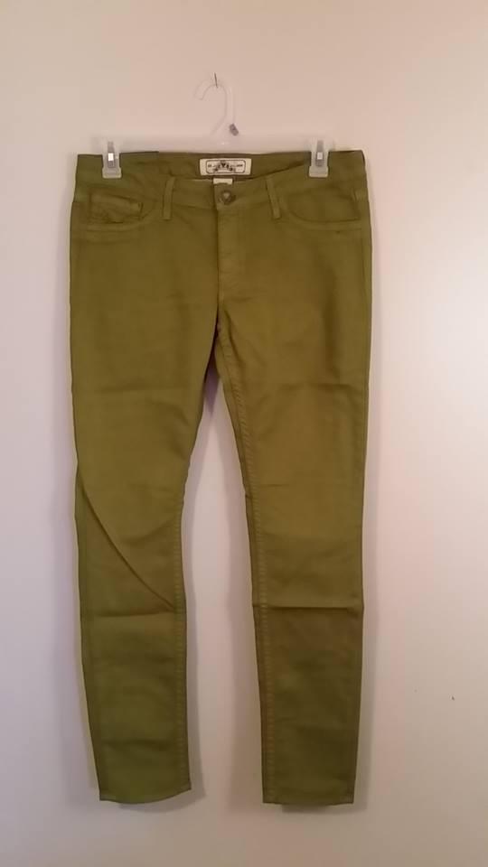 New PRVCY Womens Green London Skinny Leg Jeans Size 25  length 30