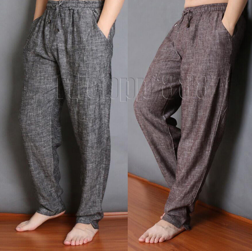 Mens Cotton Linen Casual Loose Fit Pants Drawstring Harem Baggy Long Trousers SZ