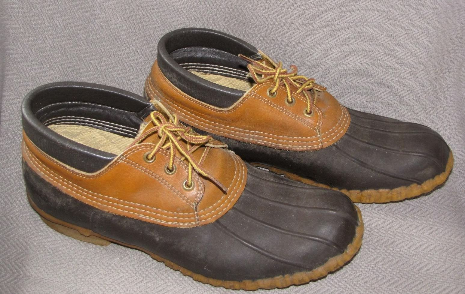 Vintage LL Bean Maine Hunting shoes Men's Gumshoe Duck Low Lo Boots Size 10 Brown
