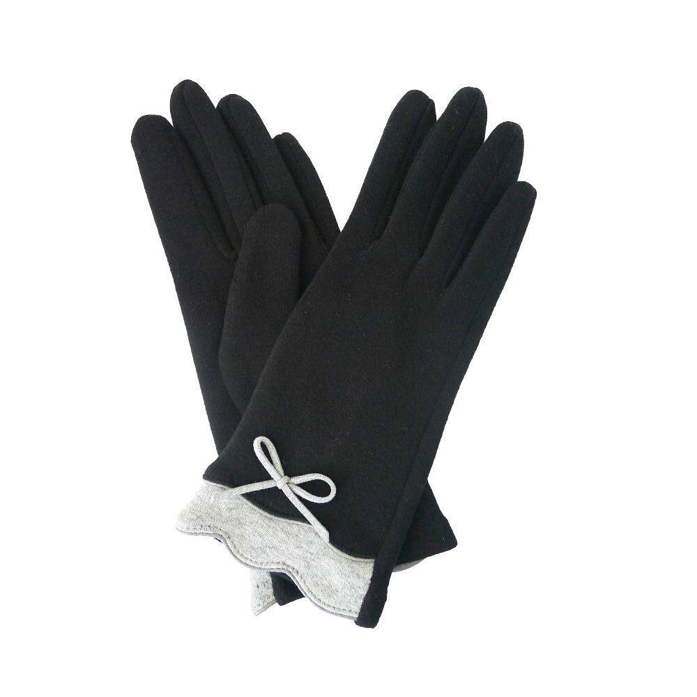 Ladies Wool Gloves BLACK with GREY Trim & Bow