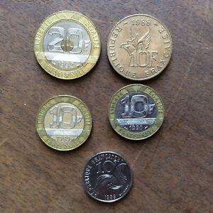 Lot-Pieces-Francaises-4-x-10-Francs-1-x-20-Francs-Annees-Diverses