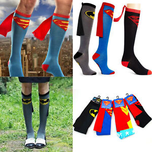 f5f98e790a9 Adult Kid Super Hero Superman Batman Knee High With Cape Cosplay ...