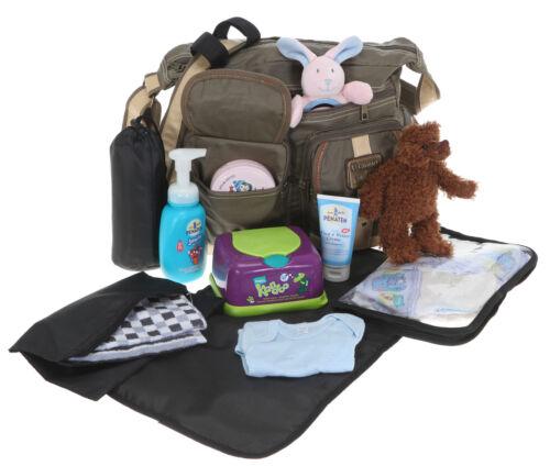 6 Teile Wickeltasche ELEPHANT OUTDOOR Babywickeltasche Baby Tasche 3699 OLIV