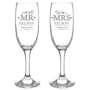 Image Is Loading Personalised Mr Amp Mrs Champagne Flute Gles Set