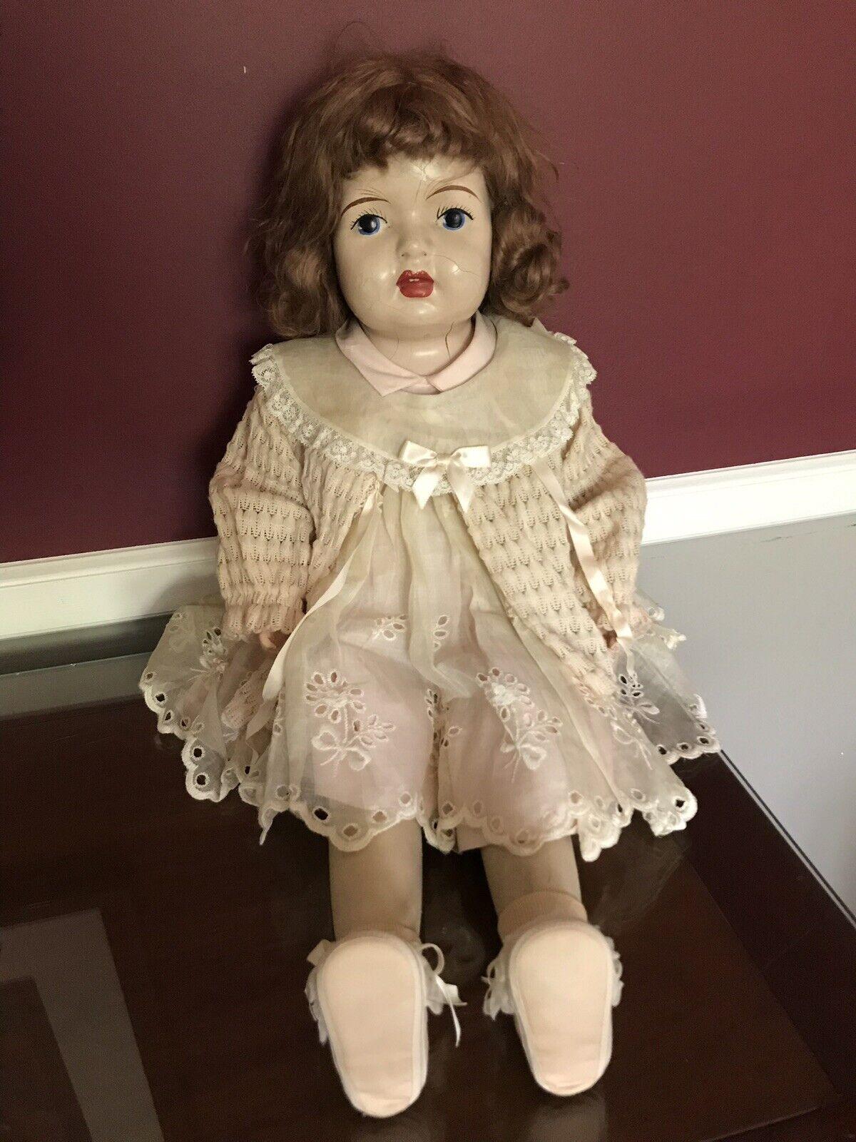 "Rare Antique 28"" bambola Wooden Arms &  Legs, Mesh corpo, Original Clothes  risposta prima volta"
