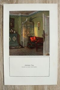 Kunstdruck-1-Blatt-1908-09-Sinkender-Tag-nach-Gemaelde-v-Prof-Paul-Hoecker-Moebel