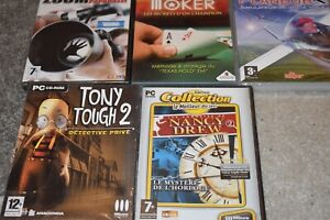Lot de 4 jeux pour pc Tony tough 2 ,Nancy drew ,zoom paparazzi