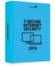 F-SECURE INTERNET SECURITY 2016 - 3 PC DEVICE - NEW - Download