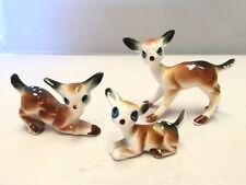 Set of Three Vintage Bone Chine Miniature Fawn & Deer Figurines Made in Japan