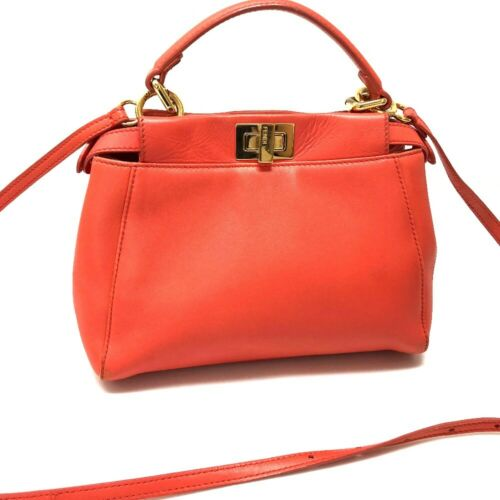 FENDI Mini Peekaboo 2way bag Salmon Pink Leather 8