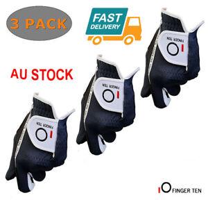 Men-039-s-Golf-Gloves-Wet-Weather-3-Pack-Right-Hand-Left-Hand-Black-Grey-Rain-Grip