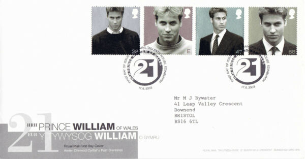 17 Juin 2003 Prince William 21st Anniversaire Royal Mail First Day Cover Bureau Shs Moins Cher