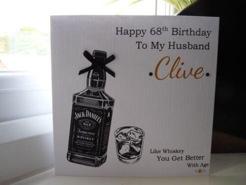 Tarjeta de cumpleaños hecho a mano personalizado Macho Whisky marido hijo Papá Abuelo Etc