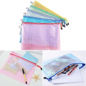 A4//A5 PVC Zipper Bag Document Storage Wallet File Folder Paper Archive Zipped