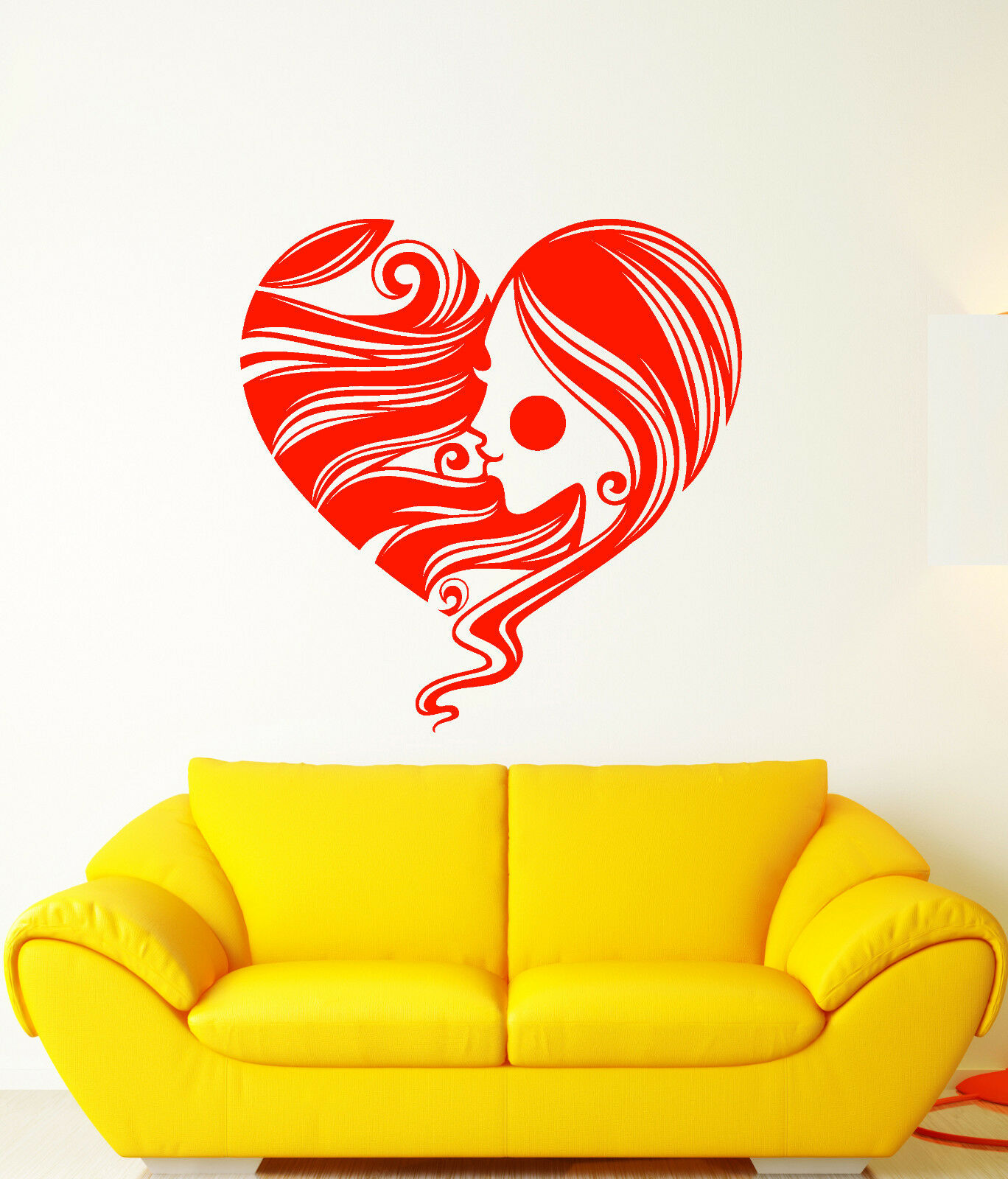 Vinyl Wall Decal Heart Symbol Romantic Girl Face Hair Hairstyle Stickers 2995ig