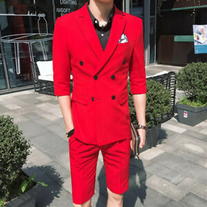 Summer-Double2-Breasted-Men-039-s-Suit-Short-Tuxedos-Slim-Fit-38-40-42-44-46-Custom