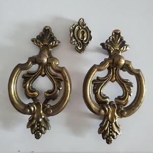 Antique Brass drawer pulls & escutcheon. ring handles hardware KBC Keeler 3 pc