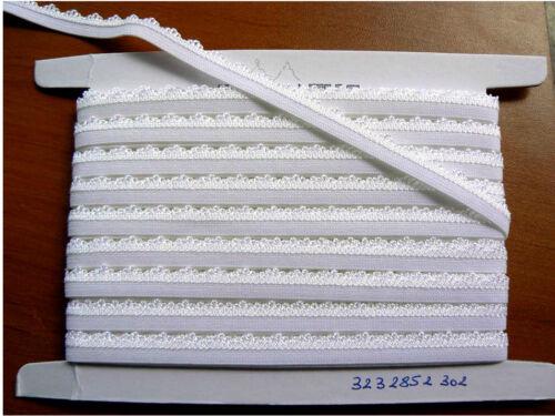10 MÉTRES Ruban élastique LYCRA  ruché  1.2CM   Galon BLANC     FRANCE  LOT 8