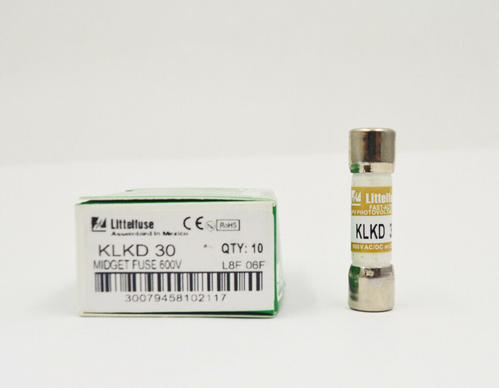 Littelfuse KLKD015.T Fast Acting Midget Fuse 600V AC//DC 15 Amp Pack of 10