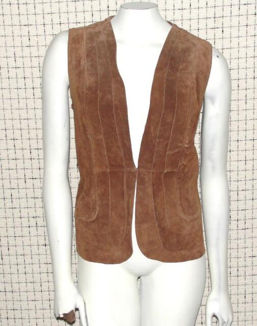 CHICO'S~$129.00~BROWN*100% GENUINE SUEDE LEATHER* PLEATED~DRESS VEST~2 (10-12)