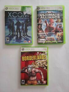 Xbox-360-Game-Lot-Borderlands-Xcom-Enemy-Within-Marvel-Ultimate-Alliance