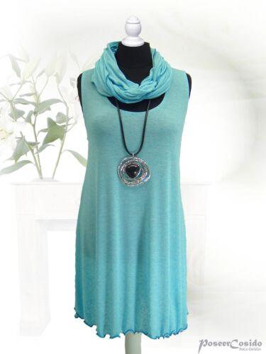 Lagenlook ACCESSORI poco-design Loop Sciarpa Scialle lino finemente lavorato a maglia turchese