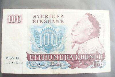 Ancien Billet - 100 Kronor SuÈde 1965 - Etat Ttb !!! Aangename Zoetheid