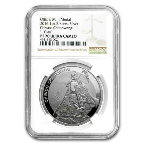 SKU#158713 2016 South Korea 1 oz Silver 1 Clay Chiwoo Cheonwang PF-70 NGC
