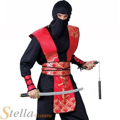 NINJA WARRIOR COSTUME SAMURAI MENS FANCY DRESS