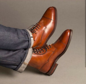 Men's Tan Color Casual Leather Ankle