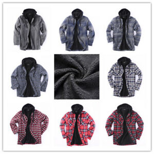Flannel-Jacket-Plaid-Jacket-Hooded-Zip-Sherpa-Lined-Extra-Heavyweight-US-Stock