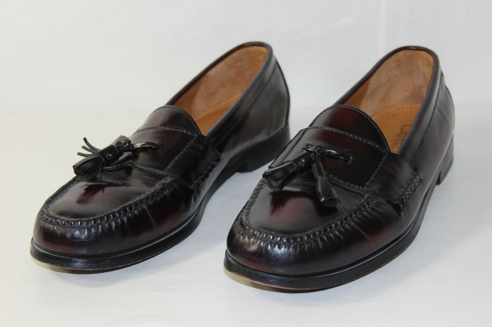 FREE SHIPPING Cole Haan Mens 12 D Dk Brown Leather Slip On Loafers Dress shoes