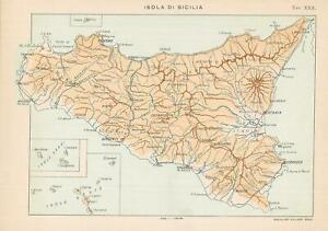 Sicilia Occidentale Cartina Stradale.Carta Geografica Originale Italia Roggero 1892 Isola Di Sicilia Ebay