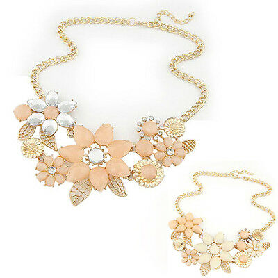 Elegant Crystal Flower Choker Bib Statement Necklace Chain Pendant Jewelry Gift
